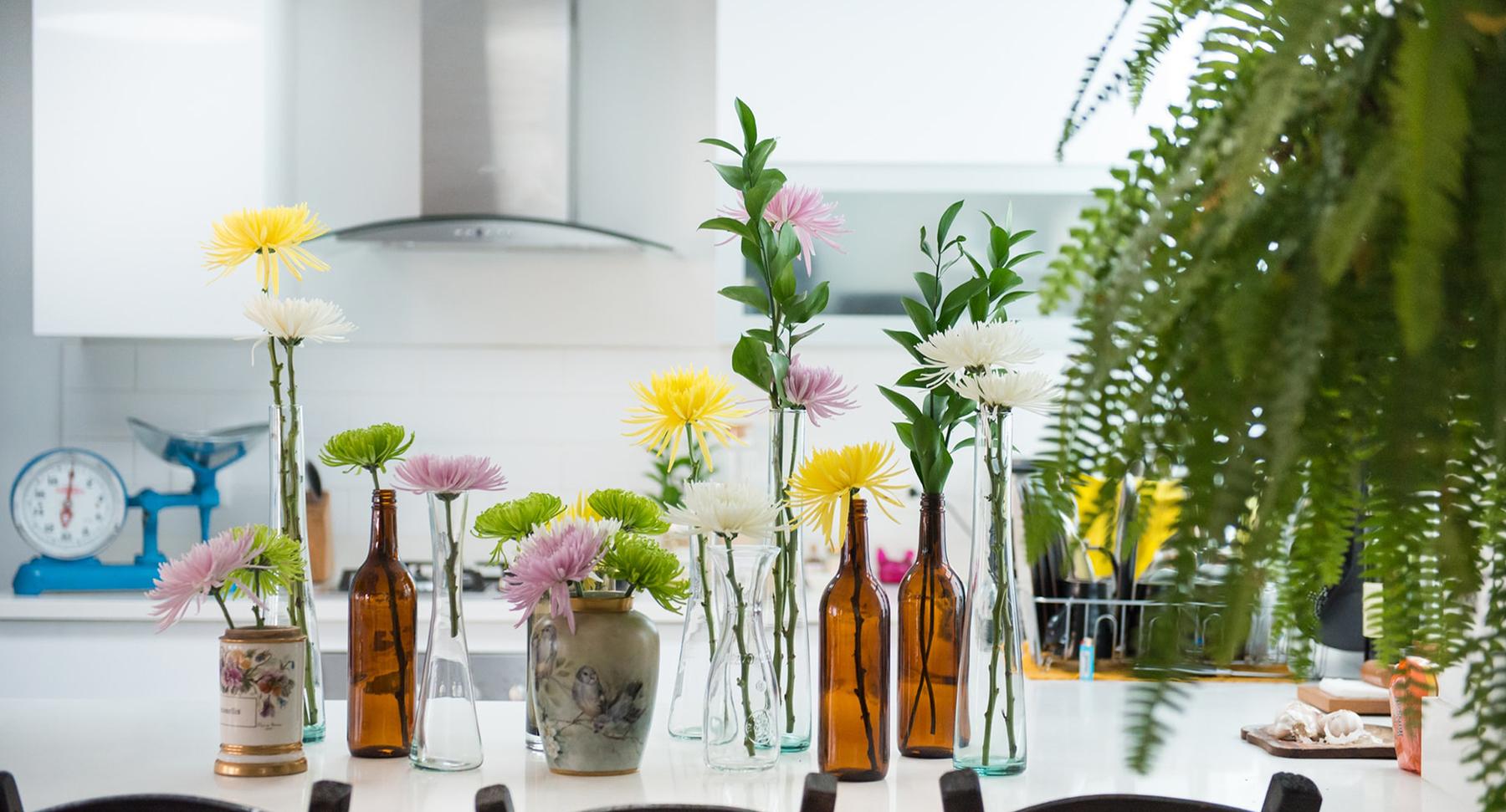 idées décorations avec des bouteilles en verre